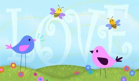 Birds and the bees Love Background art design card valentines vector illustration