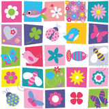 Birds bees ladybugs butterflies fish and flowers background. Birds bees ladybugs butterflies fish and flowers collection pattern on colorful rectangular Royalty Free Stock Photo