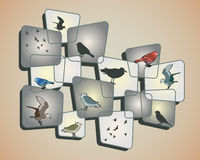 Birds on Beige. Birds and a design on a beige background Stock Image