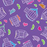 Birds and bird cages. Seamless pattern - vector illustration Stock Photography