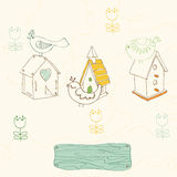 Birds and Bird Houses doodles Stock Photo