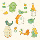Birds and Bird Houses doodles Royalty Free Stock Photos