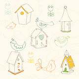 Birds and Bird Houses doodles Stock Image
