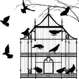 Birds and birdcage graphic. Silhouettes over white background Stock Photo