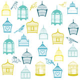 Birds and Birdcages Background Royalty Free Stock Photography