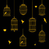 Birds and birdcages  collection Stock Photos
