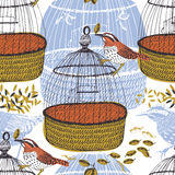 Birds and birdcages Seamless pattern Stock Photography