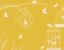 Birds and birdcages. Vintage romantic background Stock Image