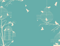 Birds and birdcages. Birds and birdcages, vintage romantic background Stock Images