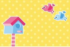 Birds and birdhouse Stock Image