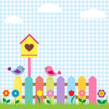 Birds and birdhouse. Background with birds and birdhouse Stock Image