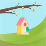 Birds and birdhouse, spring Stock Photos