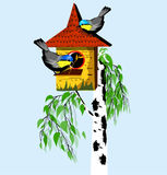 Birds with birdhouse on the tree. Vector Stock Images