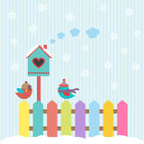 Birds and birdhouse winter. Background with birds and birdhouse winter Royalty Free Stock Photos
