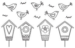 Birds and birdhouses royalty free illustration