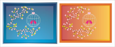 Birds with blossom picture frames Stock Images