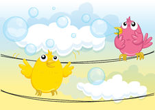 Birds blowing bubbles Stock Photography