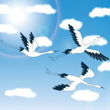 Birds - blue sky & clouds - Illustration Royalty Free Stock Images