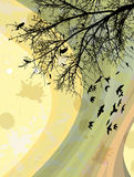 Birds on a branch. Illustration stock illustration
