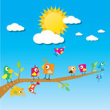 Birds on branch. cartoon summer illustration. Stock Photo