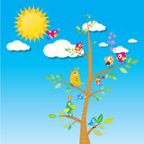 Birds on branch. cartoon summer illustration. Summer kids background stock illustration