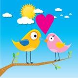 Birds on branch. cartoon summer illustration. Stock Photos