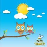 Birds on branch. cartoon summer illustration. Stock Image