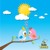Birds on branch. cartoon summer illustration. Royalty Free Stock Photography