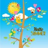 Birds on branch. cartoon summer illustration. Stock Images