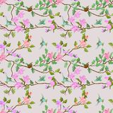 Birds and branch with flowers. Birds and branch with flowers in vintage color seamless pattern royalty free illustration