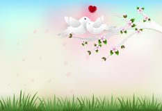 Birds on the branch with flowers paper art style. Valentine concept paper craft style illustration Royalty Free Illustration