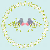 Birds on branch with flowers Royalty Free Stock Photography