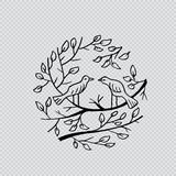 Birds on branch. Hand drawing illustraion stock illustration
