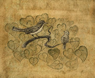 Birds on a branch. Pencil sketch on the old paper. Vintage picture. Royalty Free Stock Photo