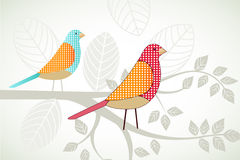 Birds on a branch. Birds resting on a branch with leaves royalty free illustration
