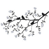 Birds on the branch during the summer day. 2d vector royalty free illustration
