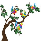 Birds on a branch of tree. Illustration of colorful birds on a branch of tree, isolate don white royalty free illustration