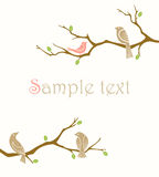 Birds on branches. Invitation card with birds on branches Royalty Free Stock Image