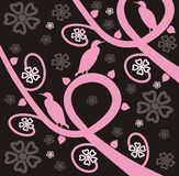 Birds and Branches. Pink and black background made up of flowered vines and bird silhouettes Vector Illustration