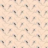 Birds on branches light pink cute pattern seamless vector. Royalty Free Stock Photos