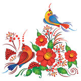 Birds on branches ukranian style vector Royalty Free Stock Photo