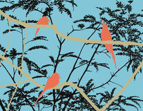 Birds on branches in a zoo. Abstract flat image of the birds sitting on branches in a zoo Royalty Free Stock Photos