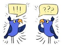 Birds with bubbles - emotion shock, surprise, bewildermen. Violet birds with bubbles - emotion shock, surprise, bewilderment stock illustration