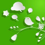 Birds and bubbles speech. Paper birds and bubbles speech Stock Image