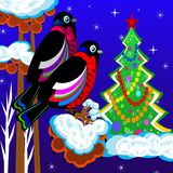 Birds are bullfinchs on the tree of wild ash and new-year tree. Illustration Stock Photo