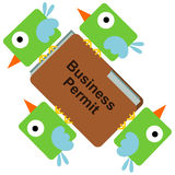 Birds business. Illustration of birds carrying a business permit Royalty Free Stock Images