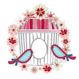 Birds cage and flower wreath. Two Birds with a  cage and flower wreath Royalty Free Stock Photo
