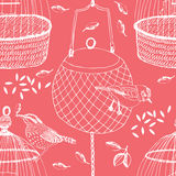 Birds and cage seamless pattern Royalty Free Stock Photos
