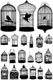 Set birds in cages and all kinds of cells. Royalty Free Stock Image