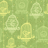 Birds in cages seamless pattern background Stock Photo
